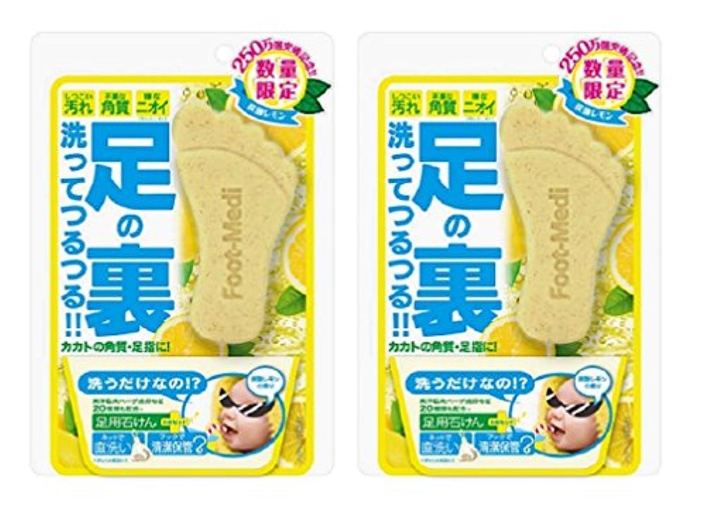 詳細なパイル受動的フットメジ 足用角質クリアハーブ石けん 炭酸レモン 60g×2個セット