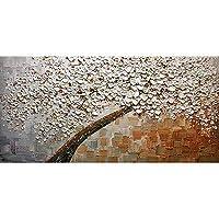 Klaxiaz(TM) アンフレーム現代抽象ツリー手はリビングルームホームデコレーション用のキャンバスウォールアート画像上質感ナイフ絵画を描きました [50X100 7]