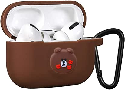 AirPods Proケースシリコン AirPods Proカバー 耐衝撃 防塵 AirPods2019第三世代に適用 (AirPods Pro ブラウン)