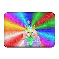 ウェルカムホームデコレーション玄関レインボーユニコーン猫の前面扉の入り口玄関ウォッシャブルカーペット [並行輸入品]
