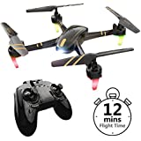 REMOKING R820 RC Drone Toys Racing Quadcopter Headless Mode 2.4GHz 360°flip 4 Channels Altitude Hold Indoor and Outdoor Sport Game Good for Children and Adult as Gifts 12mins Long Flight Time - Black