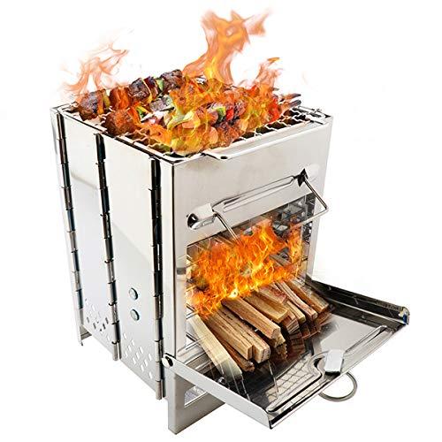 バーベキューコンロ 焚火台 折りたたみコンロ ボックスストーブ 1台多役 コンパクト ミニ型 軽量 BBQコンロ 1-2人用 ステンレス鋼 キャンプストーブ 収納袋付き (シルバー-S)
