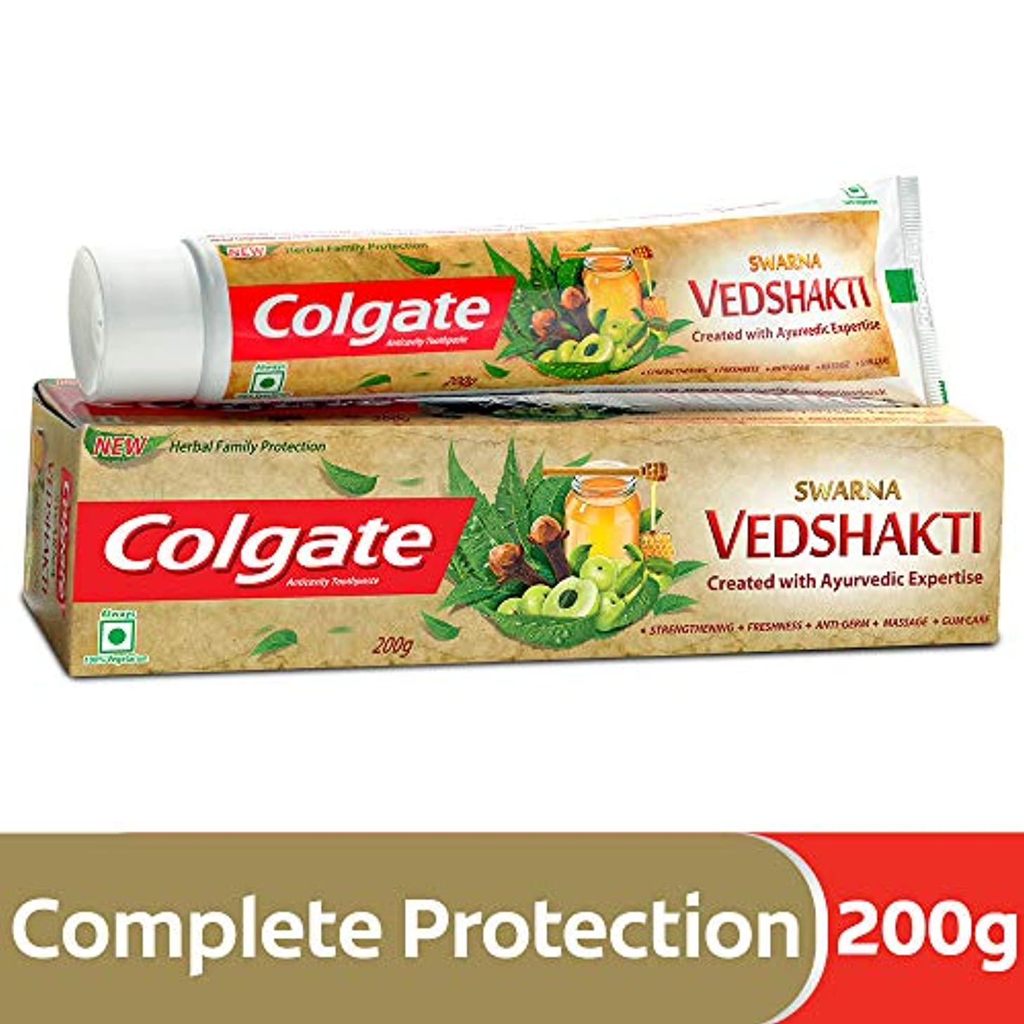 未満承認する文明化Colgate Swarna Vedshakti Toothpaste - 200g