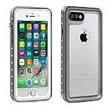Eonfine-正規品 iPhone 7 Plus 用 防水ケース クリア 透明ケース 100%防水 アイフォン7プラスケース 防水 防塵 耐衝撃 完全防水 防雪 耐震 落下防止 IP68 指紋認証対応 個性的 7plusカバー 透明&グレイ
