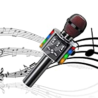カラオケマイク Bluetooth ブルートゥース無線 多彩LEDライト ポーターブルスピーカー/録音 高音質 360°ステレオサウンド 多機能スライド調節 音楽再生/伴奏機能 ノイズ低減 Android/iPhone/Tablet/PCに対応 大容量3600mAh 家庭カラオケ/忘年会/パーティーに適用 充電式 (ブラック)