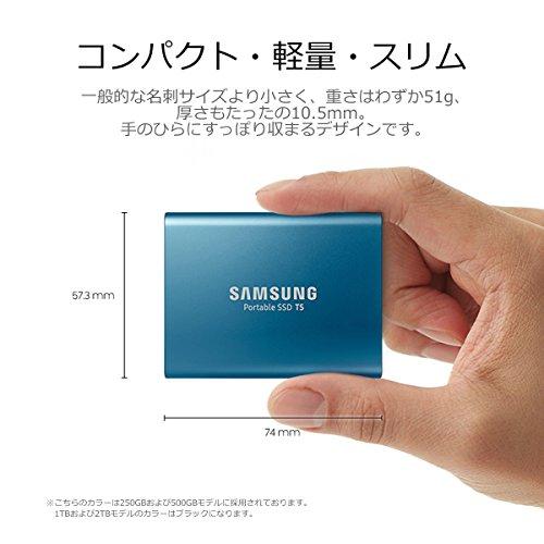 Samsung 外付けSSD 1TB T5シリーズ USB3.1 Gen2対応 ハードウェア暗号化 パスワード保護 V-NAND搭載 MU-PA1T0B/IT