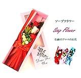 fleurmelody フラワーギフト ソープフラワー 光触媒 バラ5本 花束 アレンジメント So-5 (赤)