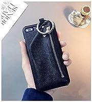 新品 人気 完全保護 フェイクレザー 防塵 インスタ映え 財布付きiphoneケース (iphone7/8通用, 黒)