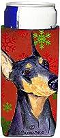 Caroline 's Treasures ss4702-parent Doberman赤と緑Snowflakes HolidayクリスマスUltra Beverage Insulators forスリム缶ss4702muk、、マルチカラー Slim SS4702MUK