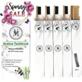 Bamboo Toothbrushes Charcoal Eco Friendly Biodegradable Natural Wooden Toothbrush - 4 Pack - Soft Medium Bristles...