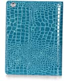 iPad4 ケース Retina カバー 第3世代 ケース iPad2/3/4対応 ケース ワニ クロコダイル柄 croco デザイン ケース 全9種 case TABLET PC用ケース アイパッド case smart case 専用ケース PUレザ-カバー スタンドタイプ+自動スリープ 高級PU stand type 保護ケース esd3003_74 (Blue)