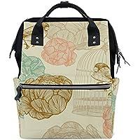 ママバッグ マザーズバッグ リュックサック ハンドバッグ 旅行用 花 鳥とかご ファション