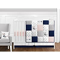 Sweet Jojo Designs 11-Piece Navy Blue Pink and Grey Patchwork Woodland Fox and Arrow Baby Girl Crib Bedding Set without Bumper by [並行輸入品]