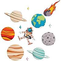 HooMall アイロンパッチ パッチ 刺繍入りパッチ アップリケ 縫製 材料 プラネットシリーズ 宇宙飛行士 地球 かっこいい DIY飾り 9個