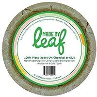 Leaf 100%生分解性堆肥可能ゼロ廃棄物9インチ使い捨てプレート、バリューパック、サルの葉と竹の茎から作られ、完全に自然で丈夫、多用途。 9 Inch グリーン