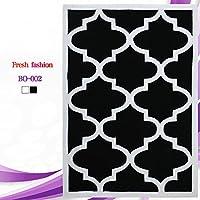 カーペット敷物ガーデンリビングルームコーヒーテーブル厚いポリアクリロニトリル繊維ベッドルームフルショップの長方形のデザインパターン (Color : Black, Size : 120 * 170CM)