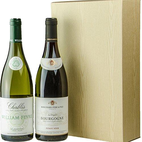【ワイン好きも気に入る】 ブルゴーニュ銘醸ワイナリー 紅白木箱風ワインギフトセット 2本 [ 750ml×2本 ] [ギフトBox入り]