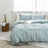 Tiffasea Ticking Stiped Bedding Duvet Cover 3 Piece Set Queen Size, 100% Cotton Boho Bedding Ultra Soft Breathable, Solid Color - 1 Duvet Comforter Cover and 2 Pillow Sham (Blue and White, 90x90 inch)