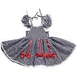 Urmagicドレス ワンピース ブラックチェック柄 肩見せ 半袖 夏 キッズ 女の子 ベビーガールズ お姫様 プリンセス 可愛い ベビー服 子供服 可愛い図案