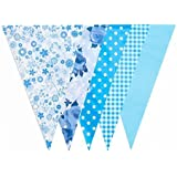 Blue Floral Gingham Baby Shower Banner Party Decoration Pennant Flags (JA004) [並行輸入品]