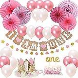 wangten 1歳赤ちゃんの誕生日セット 誕生日パーティーデコレーション 誕生日撮影セット 赤ちゃん誕生日装飾 小道具 可愛い装飾品 飾り 王冠 風船 スター ケーキトッパー