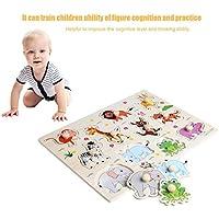 baynne木製ベビー子供動物Jigsaw初期学習パズルおもちゃ教育プレート