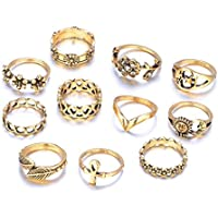 VPbao 11pcs Women Hollow Out Carving Ring Set Sun Moon Star Flower Rings Jewellery