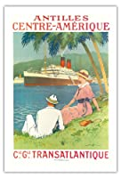 オランダ領アンティル諸島中央アメリカコンパニー・ジェネラルトランスアトランティック(CIE GLE)フレンチライン - SSフランドルクルーズ船 - ビンテージな遠洋定期船のポスター によって作成された サンディ・フック c.1970s - アートポスター - 76cm x 112cm