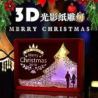 WZPクリスマスジュエリーギフトペーパーカットライトボックス、夜の光の創造的な光の絵画 - ボーダーは3色(トナカイを引く)で選択することができます,Red,Pattern6