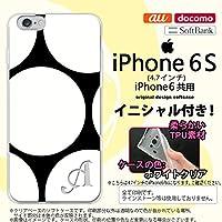 iPhone6/iPhone6s スマホケース カバー アイフォン6/6s ソフトケース イニシャル 水玉B 黒×白 nk-iphone6-tp1113ini V