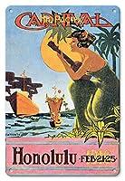 22cm x 30cmヴィンテージハワイアンティンサイン - 1916ミッドパシフィック・カーニバル - ホノルル、ハワイ - ビンテージなカーニバルのポスター によって作成された キャットン c.1916