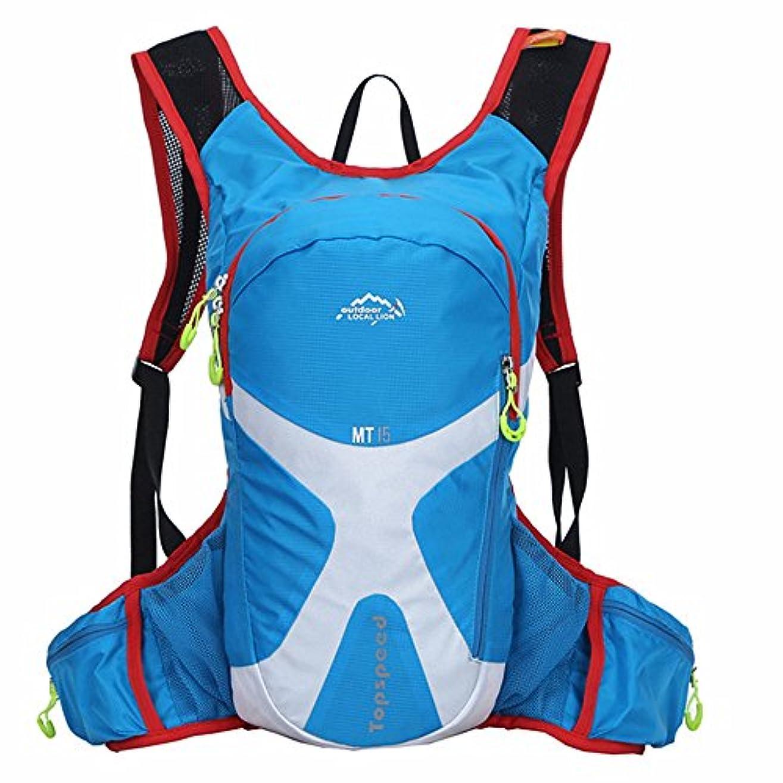 盟主疑い者誤ってYHDD バックパック防水通気性の多機能ニュートラルメンズと女性屋外使用に適したクロスカントリーランニングクライミングスポーツライディングウォーターバッグ (色 : 青)