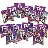 Bright Side Trends ゲーム用バナー 誕生日パーティー用品 ビデオゲームデコレーションとバトルゲームのテーマ ゲーマーの招待状用 パープルゴールドの装飾 記念品