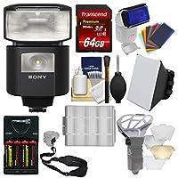 Sonyアルファhvl-f45rm radio-controlled Flash withビデオライト+ 64GBカード+電池&充電器+ソフトボックス+フラッシュDiffusers +スリングストラップ+キット