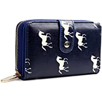 Miss Lulu Women Purse Wallet Flower Bird Horse Matte Oilcloth Clutch Hand Bag