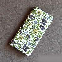 iPhoneSEケース iPhone5sケース 手帳型 リバティ メドゥ(グリーン) コーティング SHOKO MIYAMOTO かわいい おしゃれ マグネット無しでカード安全 スマホケース アイフォンケース Liberty
