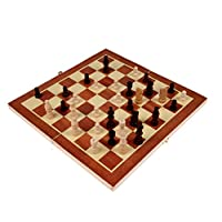Awakingdemi Wooden Chess Set Pieces wood with Board Storage Box Christmas Gift Kids Toy