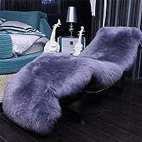 子羊の羊の居間のカーペット、長く柔らかい毛皮の羊のベッドのマット、優雅で長くふわふわの毛のカーペット、暖かく、快適なギフト,Silver-2P75x220cm