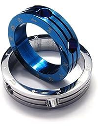 [テメゴ ジュエリー]TEMEGO Jewelry メンズステンレススチールポリッシュ2トーンペンダントネストされた取り外し可能なゾディアックネ??ックレス、ブルーシルバー[インポート]