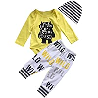 Tomfree Baby Boys Girls Wild Love You So Much Funny Bodysuits Pants Hat 3pcs Outfits (18-24M Yellow) [並行輸入品]