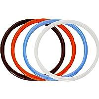 lozomシリコンシールリング、4個、オレンジ&一般的な透明ホワイト& Savoryスカイブルー&リッチブラウンと# xff0C ;フィットfor 5qt/6qt ブラック