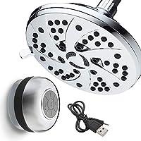 スーパー値パック。Aquadance高圧力6-inch / 6-settingプレミアム雨シャワーヘッドとフリーHotelSpaクロムメッキ防水Bluetoothシャワースピーカー