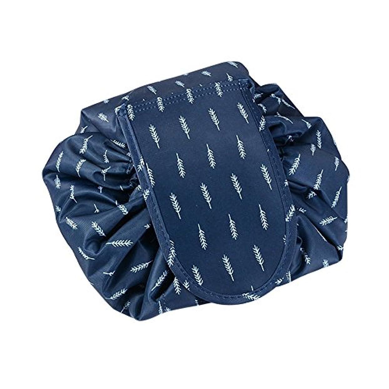 サスペンドほめる少ない旅行化粧バッグ ファッションお手軽カジュアル巾着旅行防水大容量の化粧バック (ブルー羽毛)