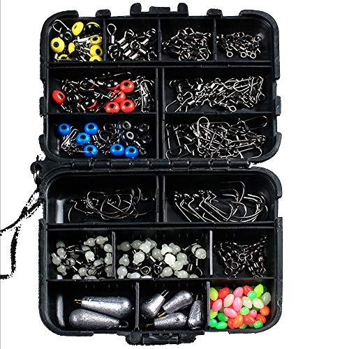 MIGHTDUTY仕掛け小物セット、釣り釣り具セット、釣り用釣り道具防水収納ケース釣り針釣り用品177個入り