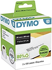 DYMO LW Address Labels, 28mm x 89mm, Self-Adhesive, Roll of 130, 2 Pack (260 Easy-Peel Labels) for LabelWriter