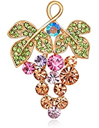 DDLKK カラフル ダイヤモンド グレープ ブローチ 女性用 アクセサリー 女性用 キュート レディース ジュエリー 合金メッキ ラインストーン クリスタル ブローチ 洋服 女性用