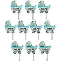 【ノーブランド品】 赤ちゃん 女の子 男の子  乳母车の形 箔バルーン 風船 デコレーション 全2色 - ブルー