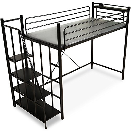 LOWYA ロフトベッド 階段 宮 コンセント付 ベッド ロフト パイプベッド シングル ブラック