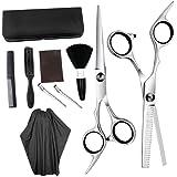 Solustre 10pcs Hair Cutting Scissors Set Thinning Scissor Neck Duster Hair Comb Flat Cut Teeth Cut Professional Barber Salon