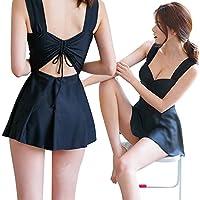 Xiton 水着 レディース ワンピース 可愛く 体型カバー ショートパンツ UVカット キャップ付き 3点セット ブラック